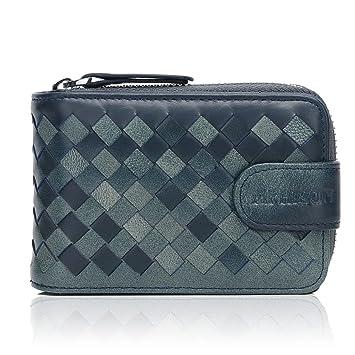 APHISONUK - Cartera de piel suave para mujer y hombre con tarjetero, color azul y caja de regalo: Amazon.es: Equipaje