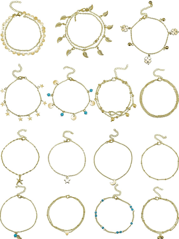 Hestya 15 Pièces Bracelets de Chaînes de Cheville Ajustable Bijoux Cheville Pied de Plage Set Chaînes de Cheville pour Femmes Filles Pieds Nus