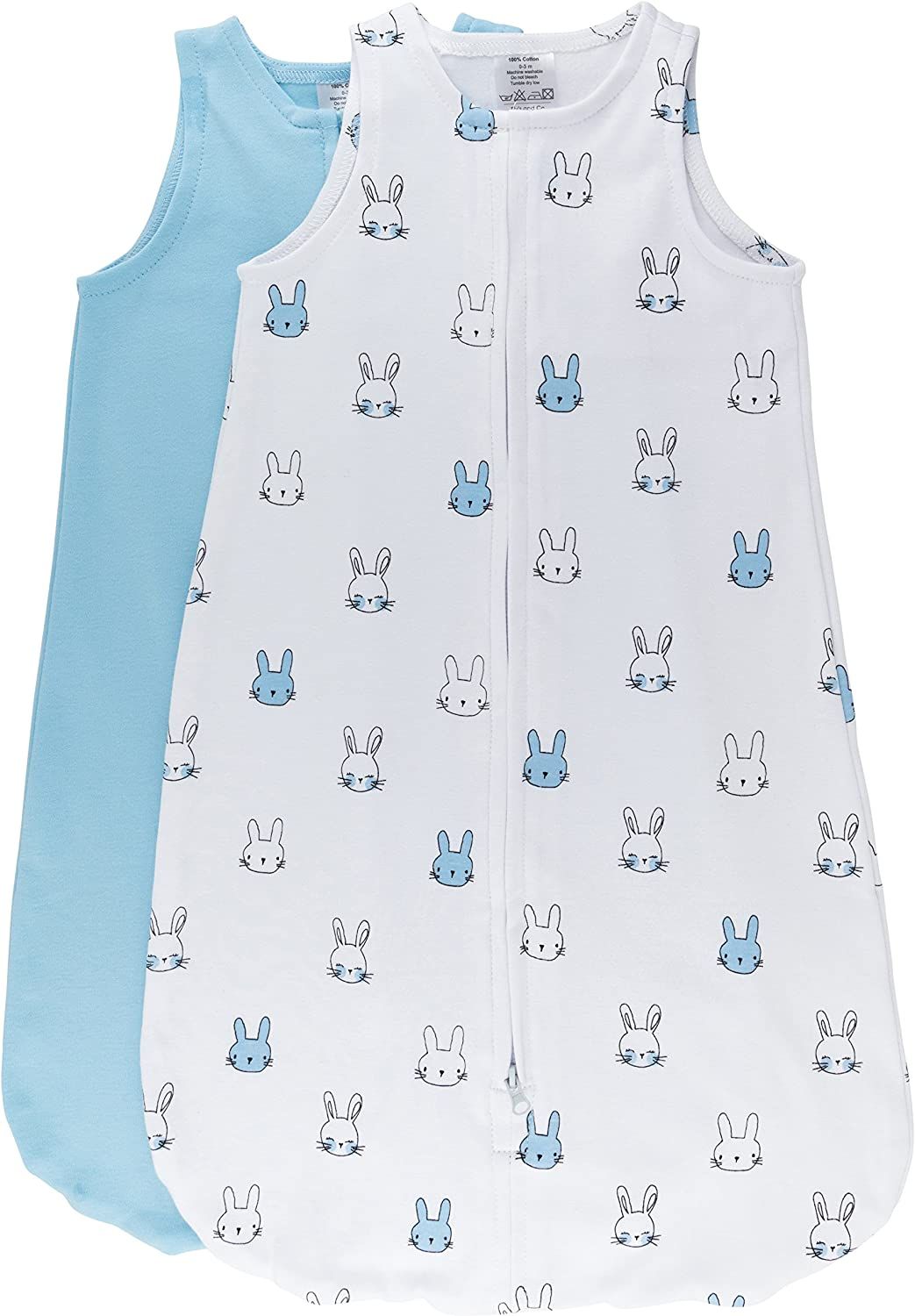 100% Cotton Wearable Blanket Baby Sleep Bag Blue Bunnies 2 Pack (6-12 Months)