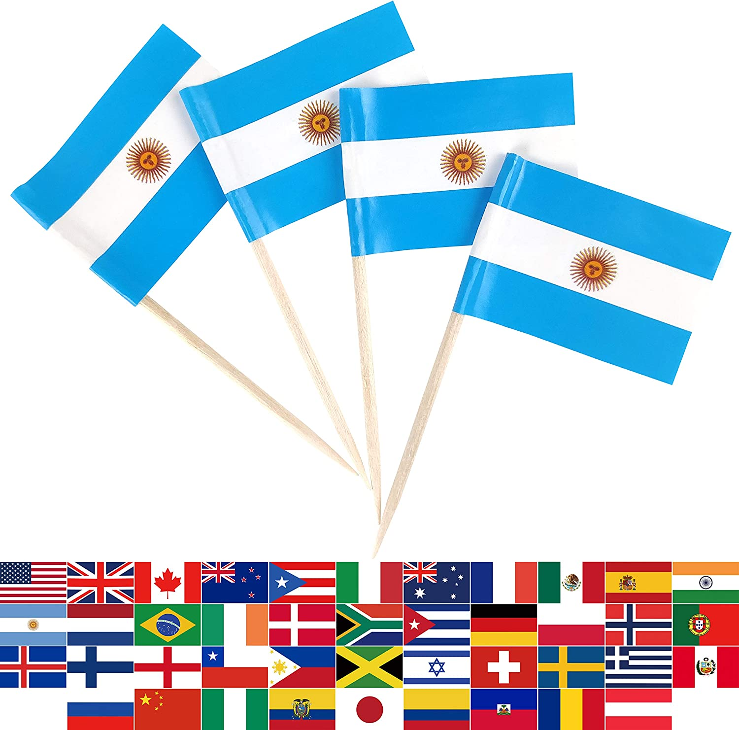JBCD 100 Pcs Argentina Flag Toothpicks Argentine Flags Cupcake Toppers Decorations, Cocktail Toothpick Flag Cake Topper Picks Mini Small Flag Cupcake Pick Sticks