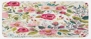 "Lunarable Floral Kitchen Mat, Shabby Form Flowers Roses Petals Dots Leaves Buds Spring Season Theme Image Artwork, Plush Decorative Kitchen Mat with Non Slip Backing, 47"" X 19"", Magenta"