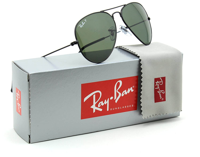 4b18efa18fa Amazon.com  Ray-Ban RB3025 Aviator Classic Polarized Sunglasses Black 002 58  - 55mm  Clothing