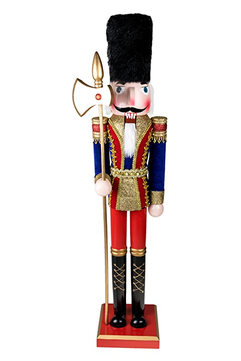 wooden soldier nutcracker with axe traditional christmas decor wearing blue red gold