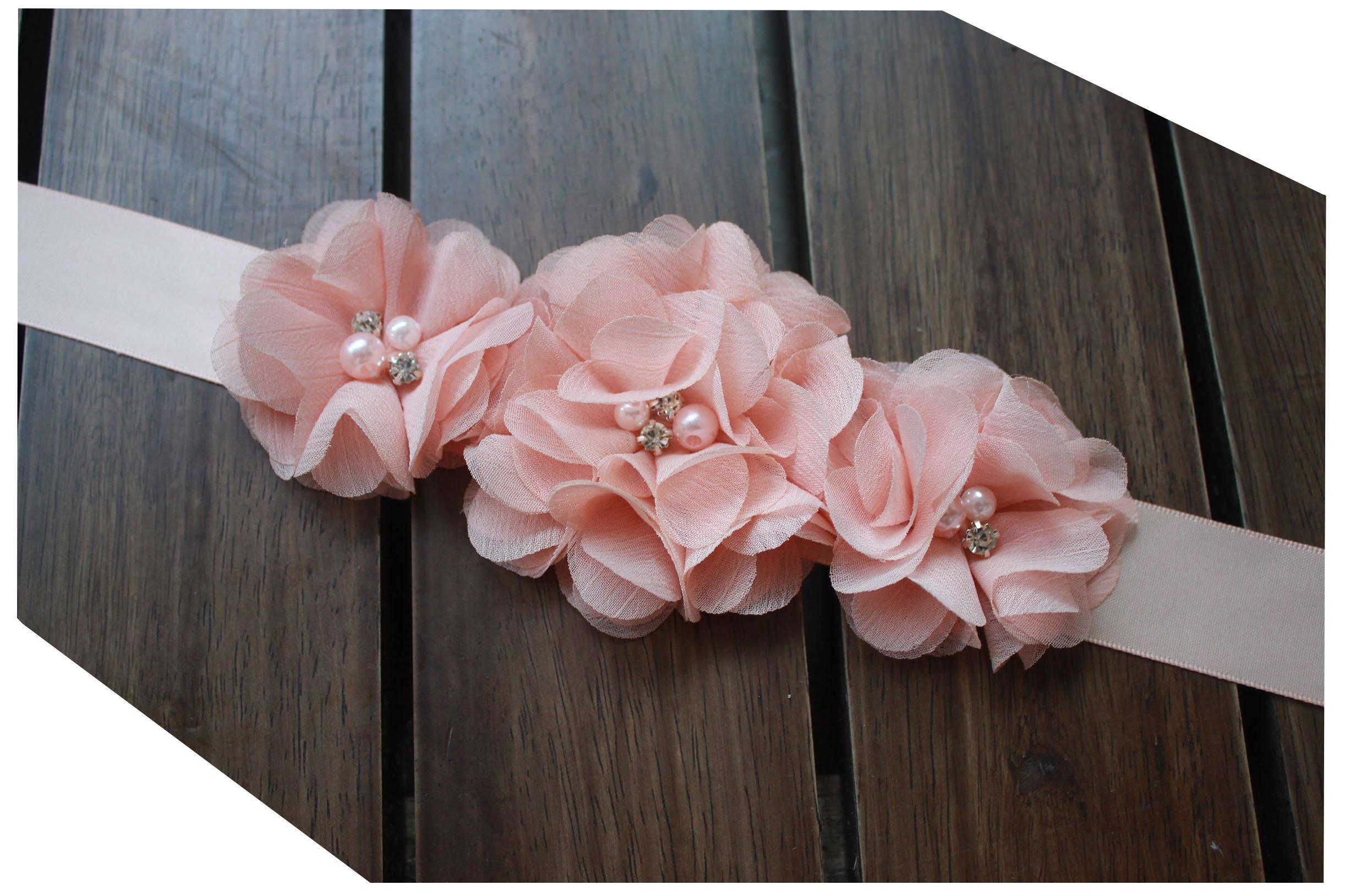 Bridesmaid and Flowergirls sashes wedding sash pearls flowers belts (Peach)