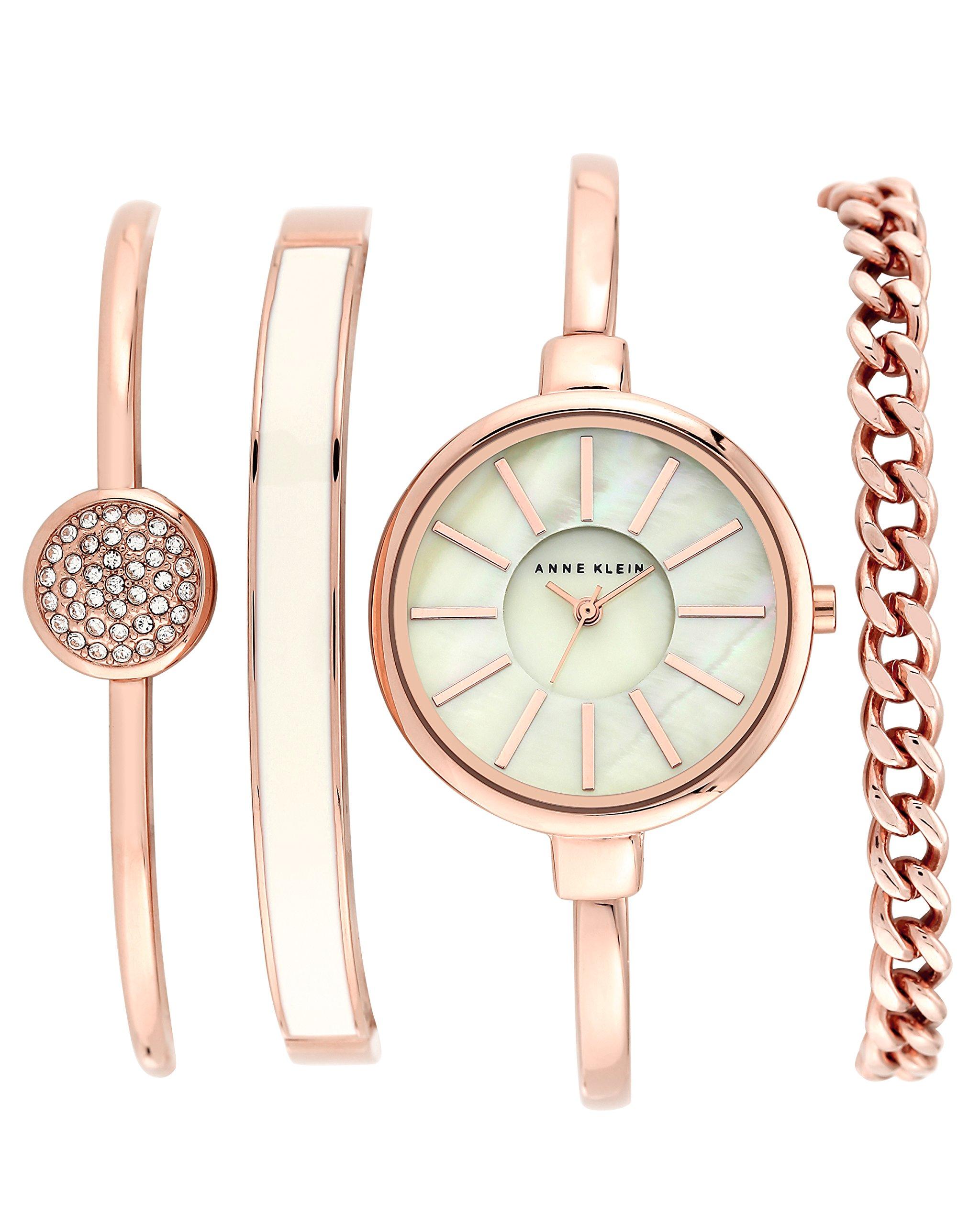 Anne Klein Women's AK/1470RGST Rose Gold-Tone Bangle Watch and Swarovski Crystal Bracelet Set by Anne Klein