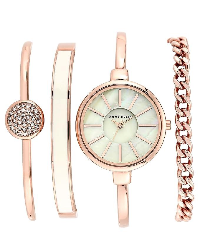 Anne Klein Women's AK/1470RGST Rose Gold-Tone Bangle Watch and Swarovski Crystal Bracelet Set