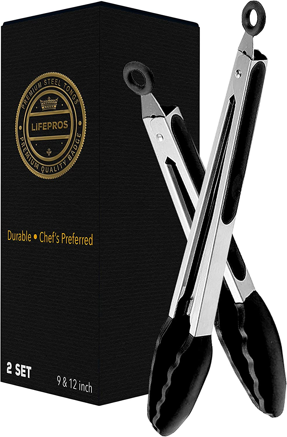 In Gift Box Stainless Steel Gold//Silver 320/° Premium Tongs for Coal Charcoal