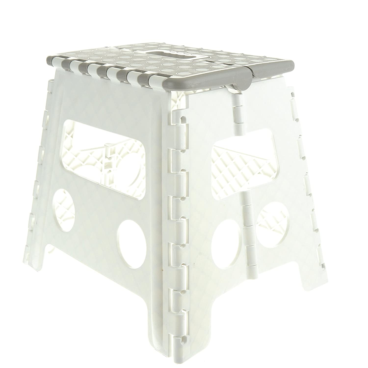 Unity 13 Non Slip Foldable Step Stool with Carrying Handle Supports Up to 300LBS Easy Open Perfect for Kitchen Bathroom Bedroom More White Grey White Dots