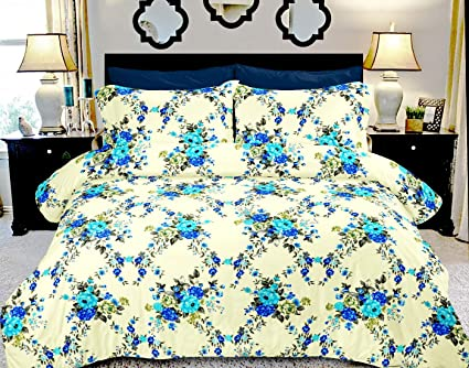 Bianca Cotton Bedsheet with 2 Pillow Covers - King Size, Beige and Blue