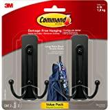 Command Large Wall Hooks, 2 Pack, Matte Black, Organize Damage-Free