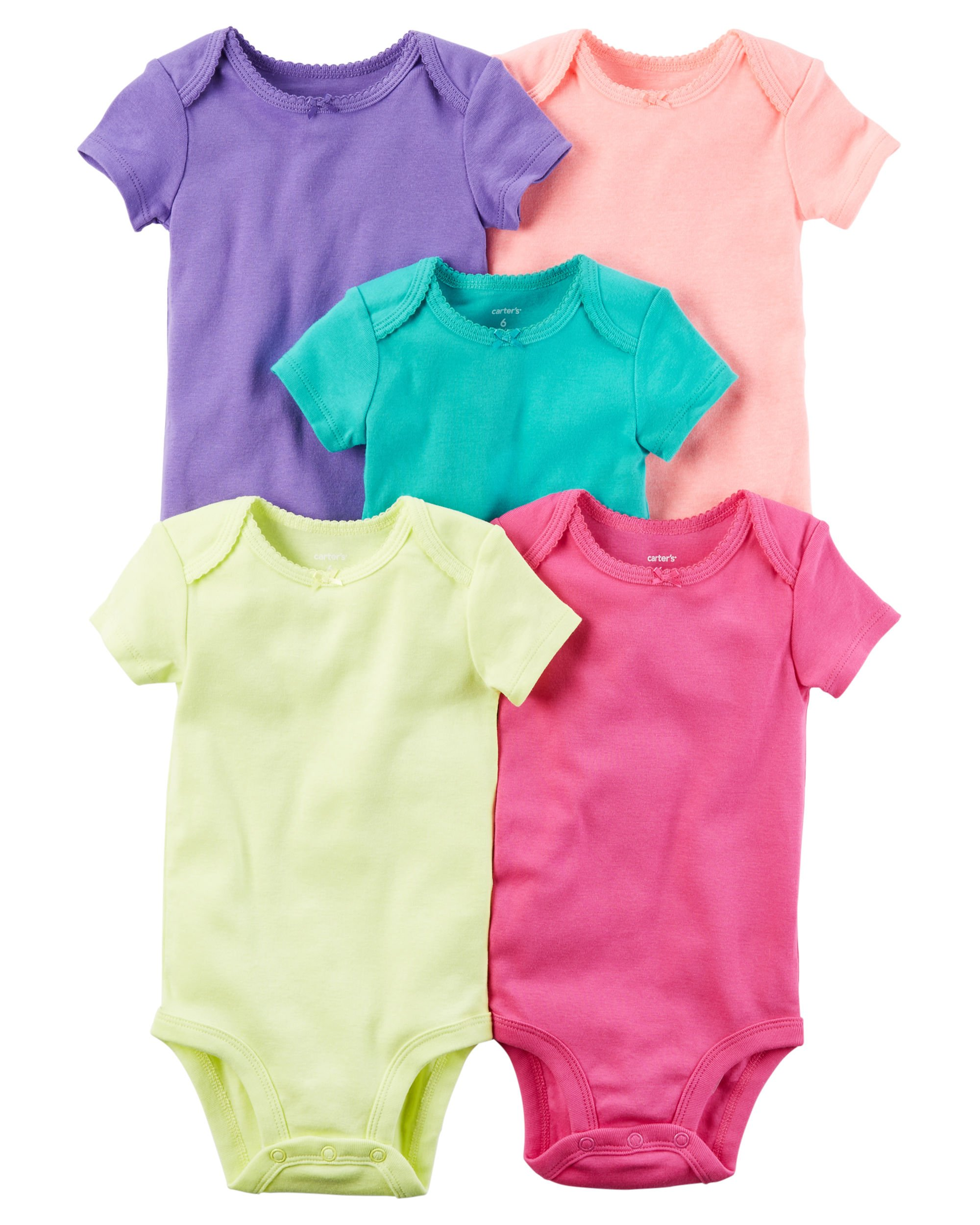 5918e30bf Amazon.com  Carter s Baby Girls  5-Pack Short-Sleeve Original ...
