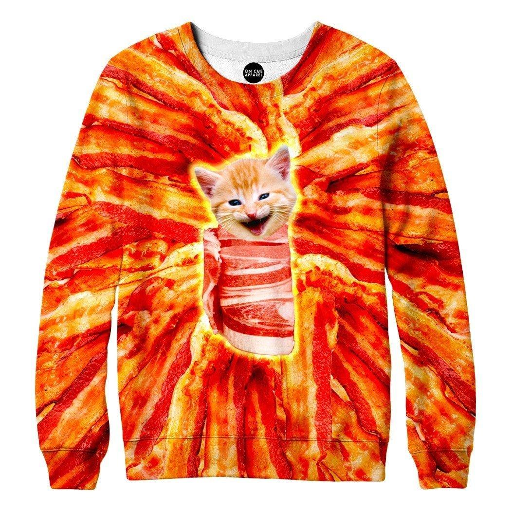 On Cue Apparel Bacon Cat Sweatshirt at Amazon Men's Clothing