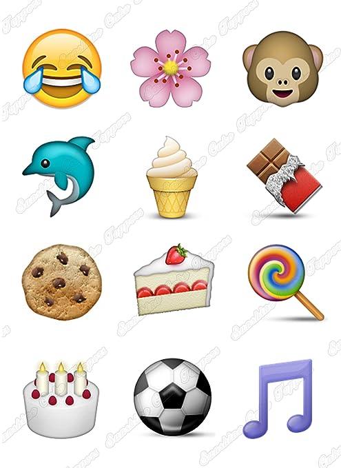 Decoraciones comestibles para tartas con diseño de emojis ...