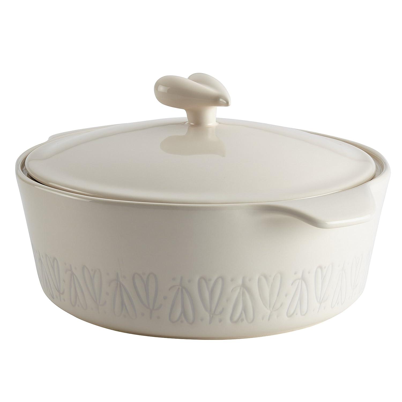 Ayesha Collection Ceramic Round Casserole, 2.5-Quart, French Vanilla