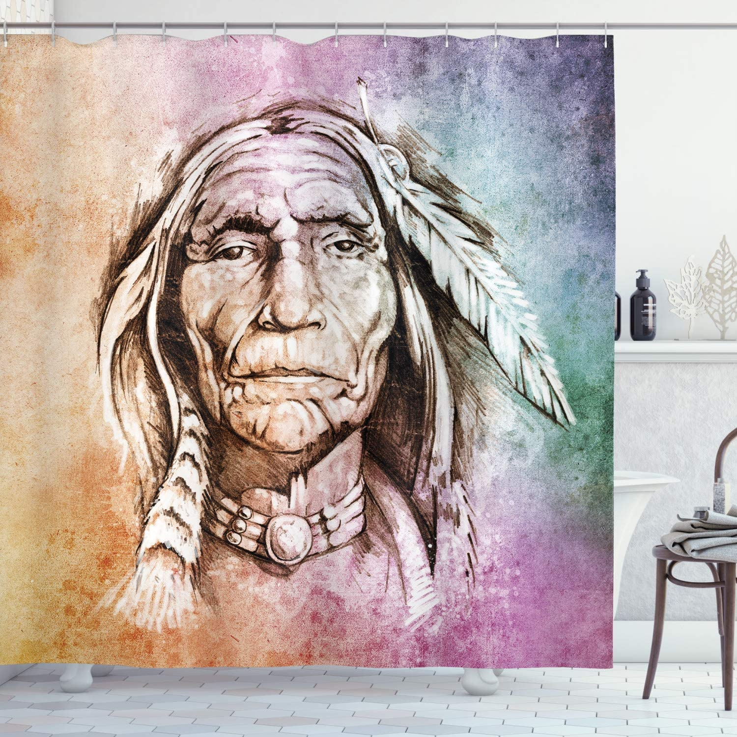 Ambesonne Colorful Shower Curtain, Portrait of Chief with Feather Band Watercolor Style Image, Cloth Fabric Bathroom Decor Set with Hooks, 84