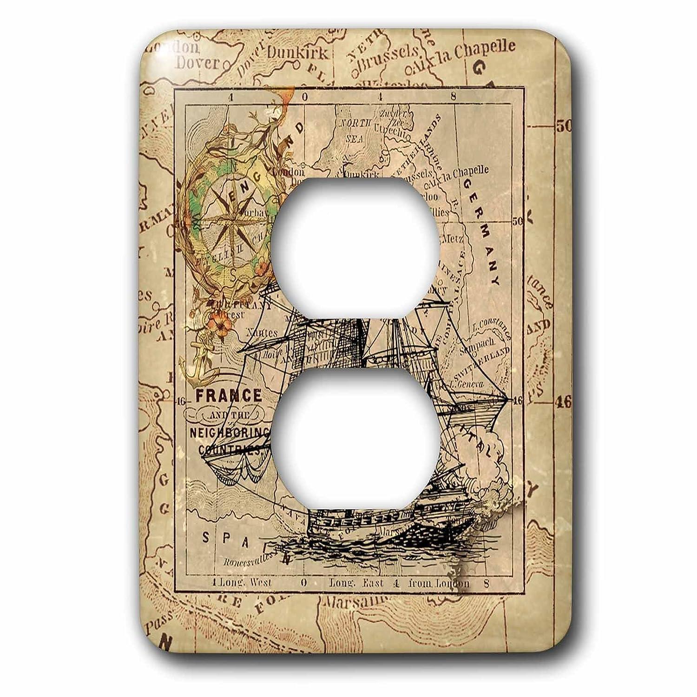 3D Rose LSP/_243834/_6 Image of Black Ghost Ship On Vintage European Map 2 Plug Outlet Cover