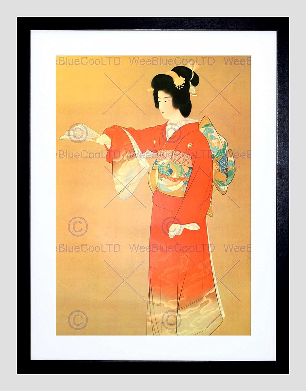 Amazon.com: PAINTING GEISHA JAPANESE MAIKO RED BLACK FRAMED ART ...