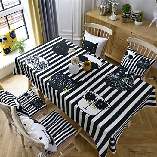 130 * 130 cm Negro Blanco Rayas Cool Cat Cartoon Chill mantel lino ...