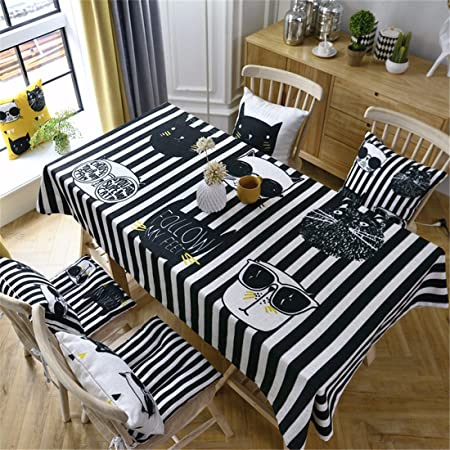 HXC Home 130 * 220 cm Negro Blanco Rayas Cool Cat Cartoon Chill ...