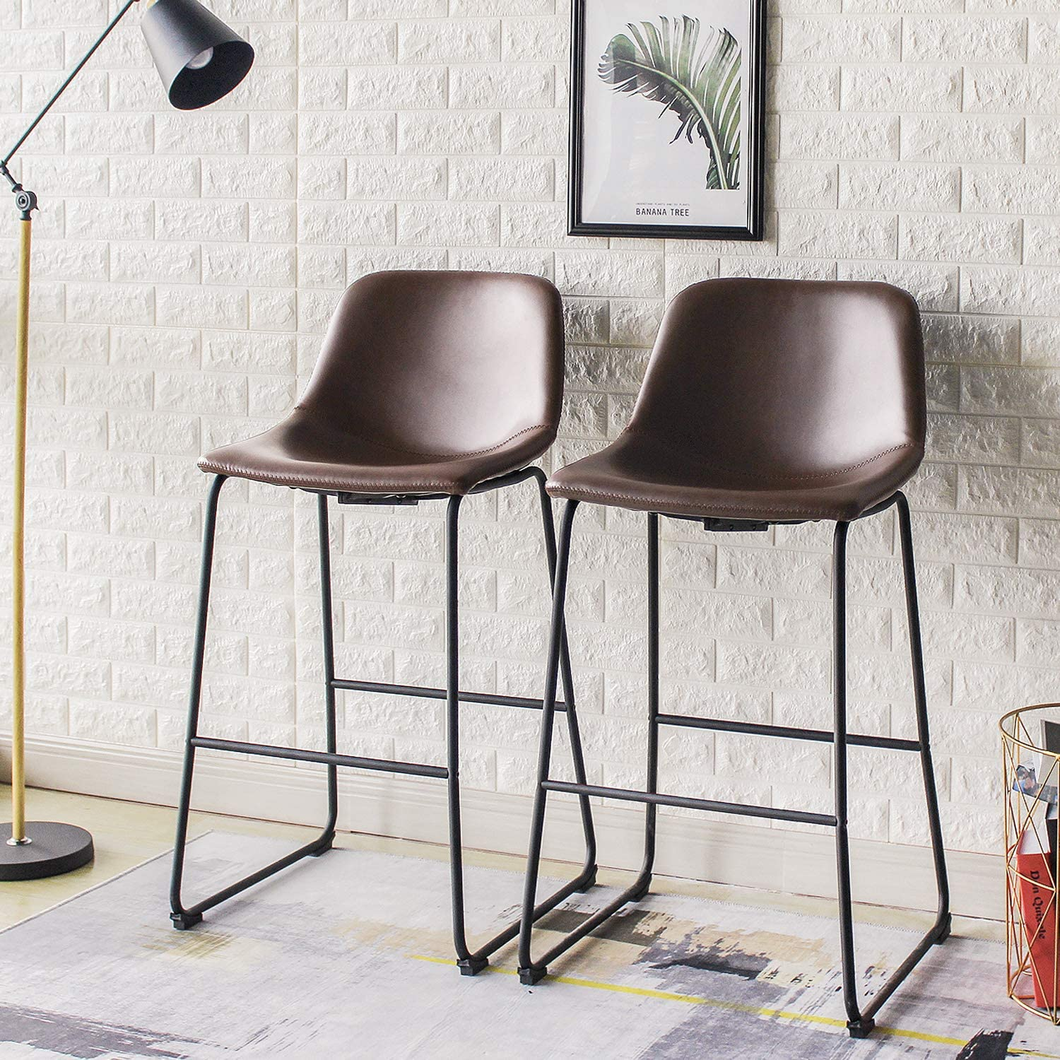 Amazon Com Rfiver Pu Leather Bar Stools Rustic Barstools With Back And Footrest Kitchen Bar Height Stool Chairs Set Of 2 Brown Kitchen Dining