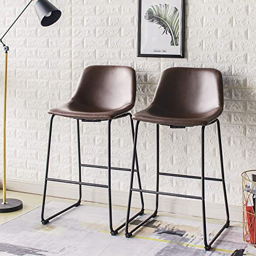 Rfiver Pu Leather Bar Stools Rustic Barstools with Back and Footrest, Kitchen Bar Height Stool Chairs Set of 2, Brown
