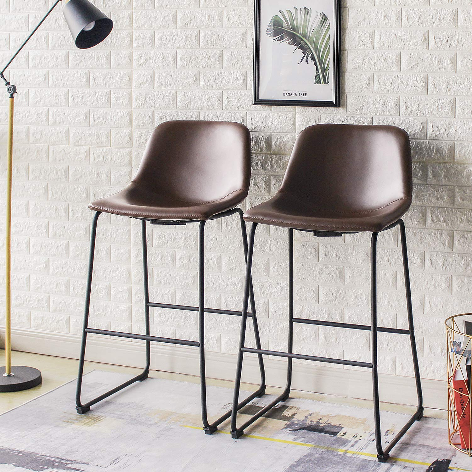 Rfiver Pu Leather Bar Stools Rustic Barstools with Back and Footrest, Kitchen Bar Height Stool Chairs Set of 2, Brown BS1002 by Rfiver