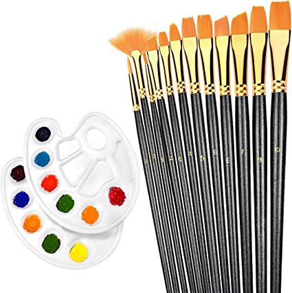 Oil Rectangular Paint Tray Palettes Cups Watercolor Paints /& Paint Brushes Best for Acrylic Artlicious 12 Pack
