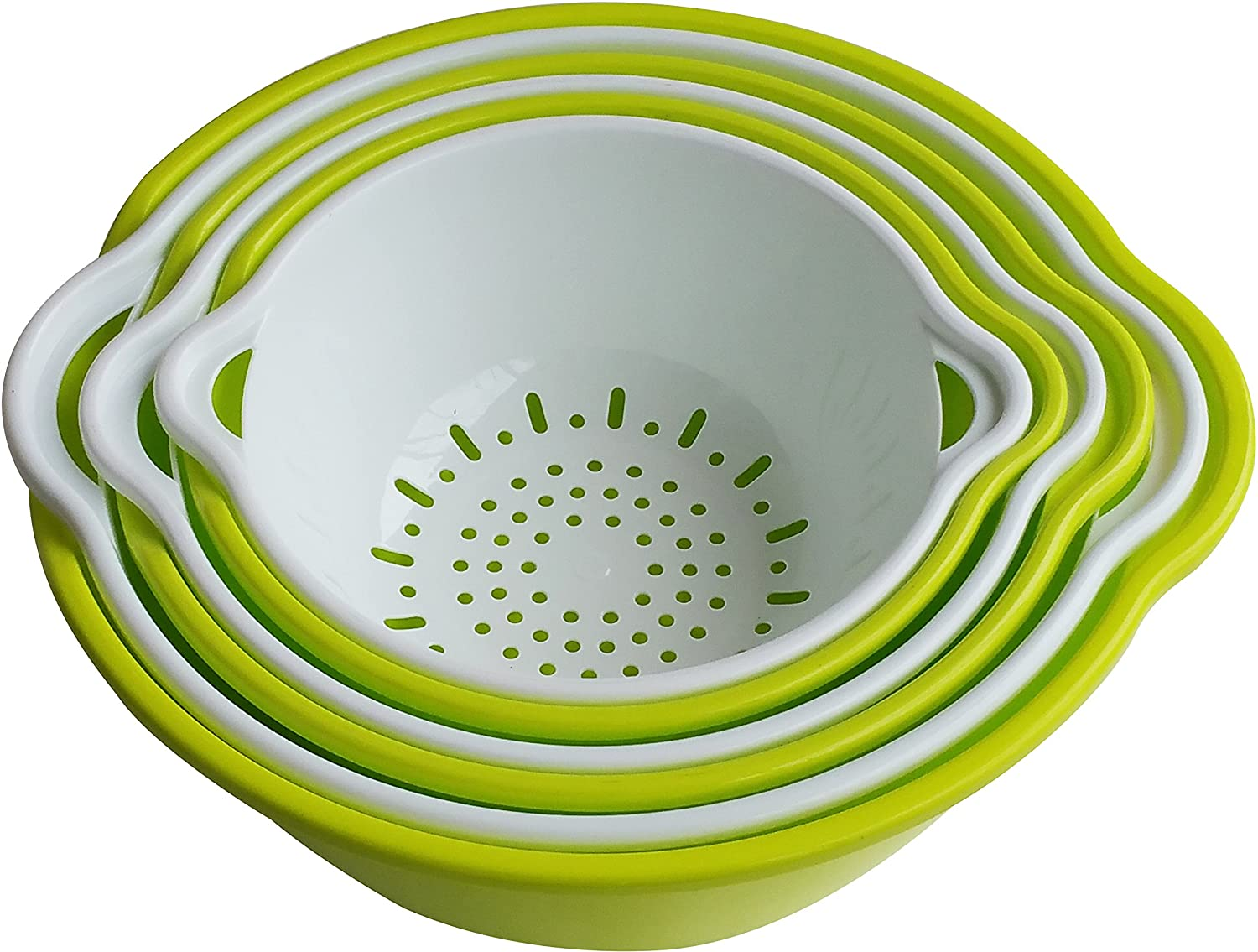 Green /& White Voucchi 6 Piece Mixing Bowls and Nesting Colanders Set