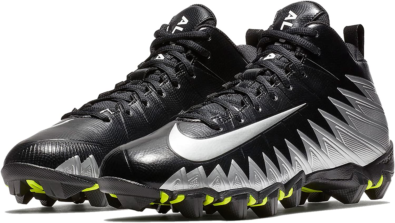 Nike Men's Alpha Menace Shark Wide Football Cleat Black/Metallic Silver Size 10 M US