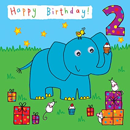 Twizler 2nd Birthday Card For Child With Elephant And Presents Two Year Old Age 2 Childrens