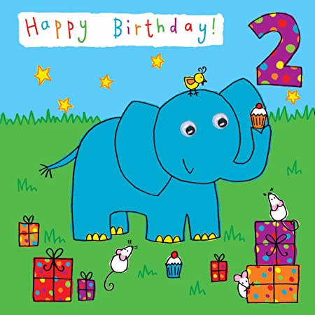 Twizler 2nd Birthday Card For Child With Elephant And Presents Two Year Old Age
