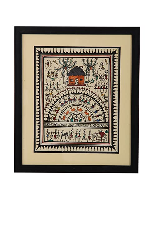 Aadaa Warli aldeas gente y casetas de madera pared pintura 30,5 x 35,