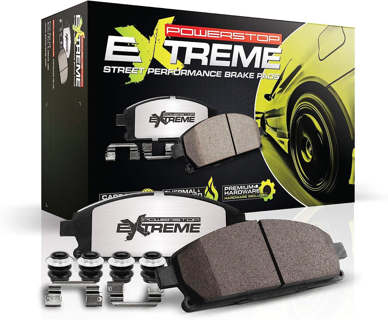 Power Stop Z26-2063 Z26 Street Warrior RearCarbon Fiber Ceramic Brake Pads with Hardware