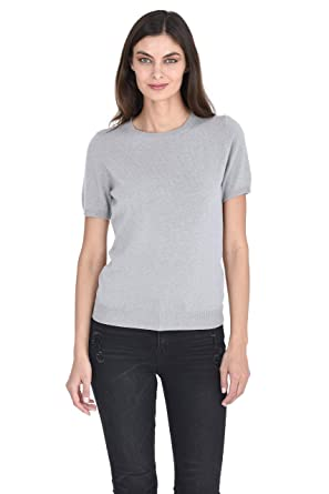 ea88791a7c9 State Cashmere Women s 100% Pure Cashmere Crew Neck Short Sleeve ...
