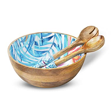 Wooden Salad Bowl Colorful Mixing and Serving Bowls Set with 2 Servers, Large Wood Container Set with Tongs for Fruits, Pasta, Cereal and Vegetable - Round 12  Diameter x 5  Height, Tropical Design