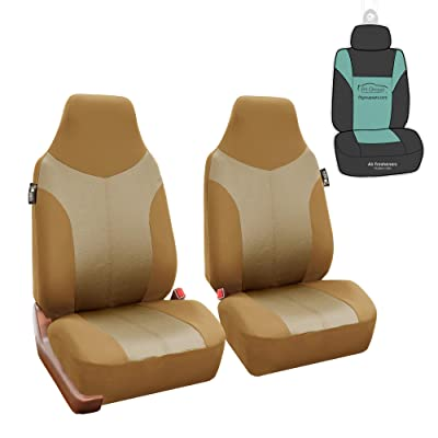 FH Group FB101102 Supreme Twill Fabric High-Back Pair Set Car Seat Covers, Airbag Compatible, Beige/Tan Color with Gift - Universal Car, Truck, SUV, or Van: Automotive