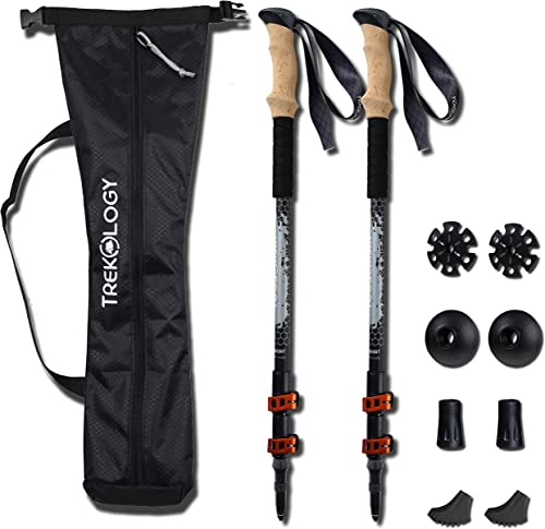 TREKOLOGY Trekking Poles Collapsible Adjustable 2pc Set Aluminum Telescopic Hiking Pole Walking Sticks with Quick Release Lever Lock and Ergonomic Grip