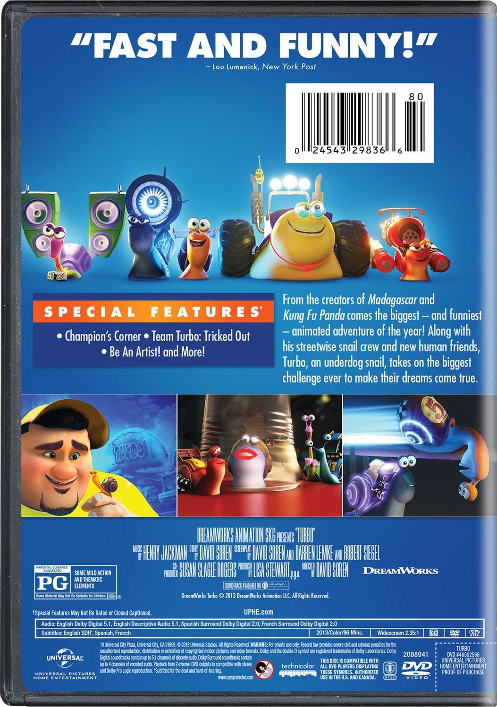 Turbo [Edizione: Stati Uniti] [Italia] [DVD]: Amazon.es: David Soren, Ryan Reynolds, Samuel L. Jackson, Maya Rudolph, Snoop Dogg, Ken Jeong, Ben Schwartz, ...