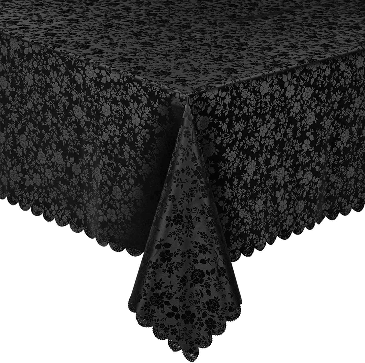 MONFINO Retangular Tablecloth,Waterproof Vinyl Table Cloth,Easy Care Dining Table Cover for Indoor and Outdoor Use (60''x120'', Black)