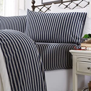 Great Bay Home Jersey Knit Sheets. All Season, Soft, Cozy Queen Jersey Sheets. T-Shirt Sheets. Jersey Cotton Sheets. Heather Cotton Jersey Bed Sheet Set. (Queen, Navy Stripe)