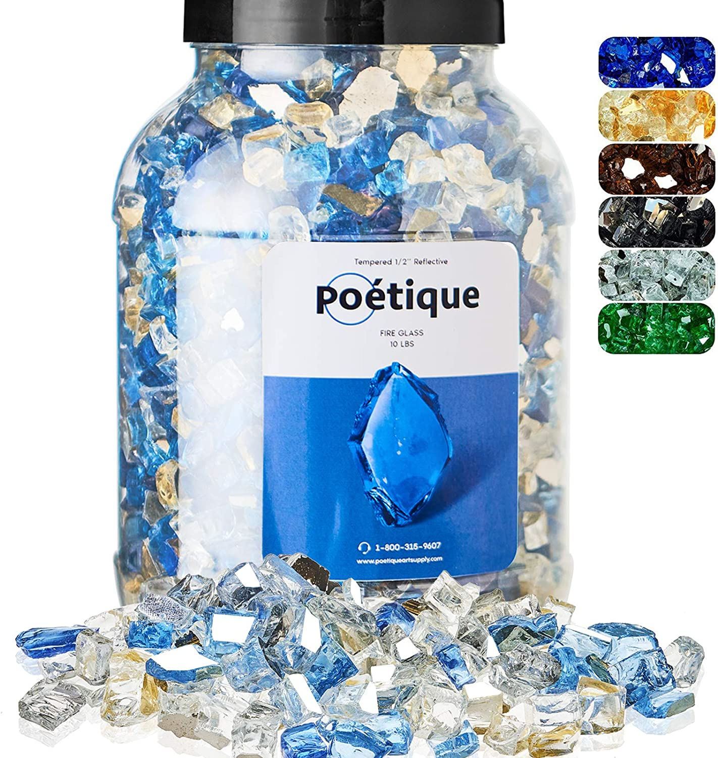 Fire Pit Glass - Blended Fire Glass for Fire Pit - Reflective Tempered Fireglass Rocks for Gas or Propane Fireplace Outdoors   1/2 Inch   10 Pounds   Ancient Blue, Platinum, Light Blue