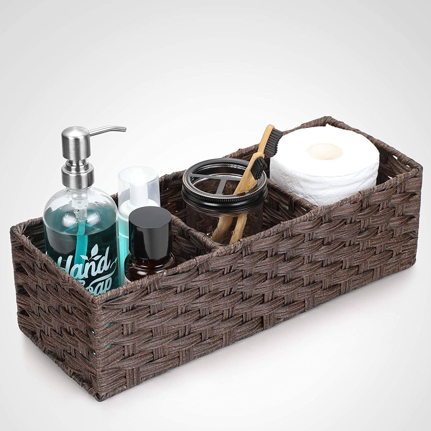 [Larger Compartments] Toilet Paper Basket for Tank Topper - Over, Top, Back of Toilet Tank Tray Split Hand-woven Basket - Rustic, Farmhouse Bathroom Decor, Storage Bin, Counter Organizer Basket, Brown