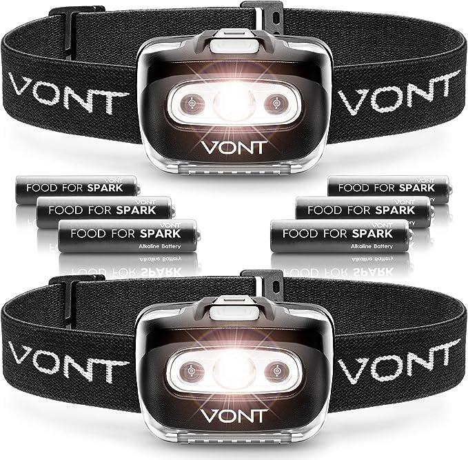 Best headlamp for Hunting: Vont 'Spark' LED Headlamp Flashlight (2 PACK) Super Bright Head Lamp Gear