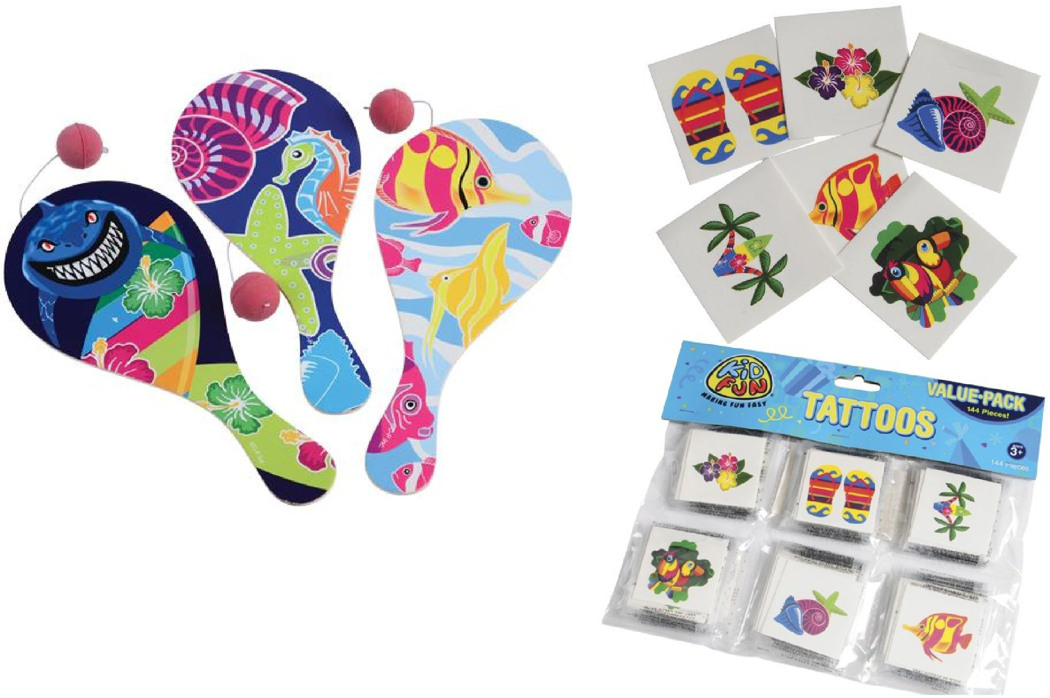 CVN Fun Luau/Hawaiian Theme Party Favors / 12 Luau Paddleball Games / 12 DZ Temporary Tattoos
