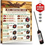 USA Intel Kitchen Exclusive Highly Accurate Digital Meat Thermometer + Best Design Meat Temperature Guide Magnet for Oven BBQ Grill Cooking. USDA Safety & Chef Recommended Internal Meat Temperature.
