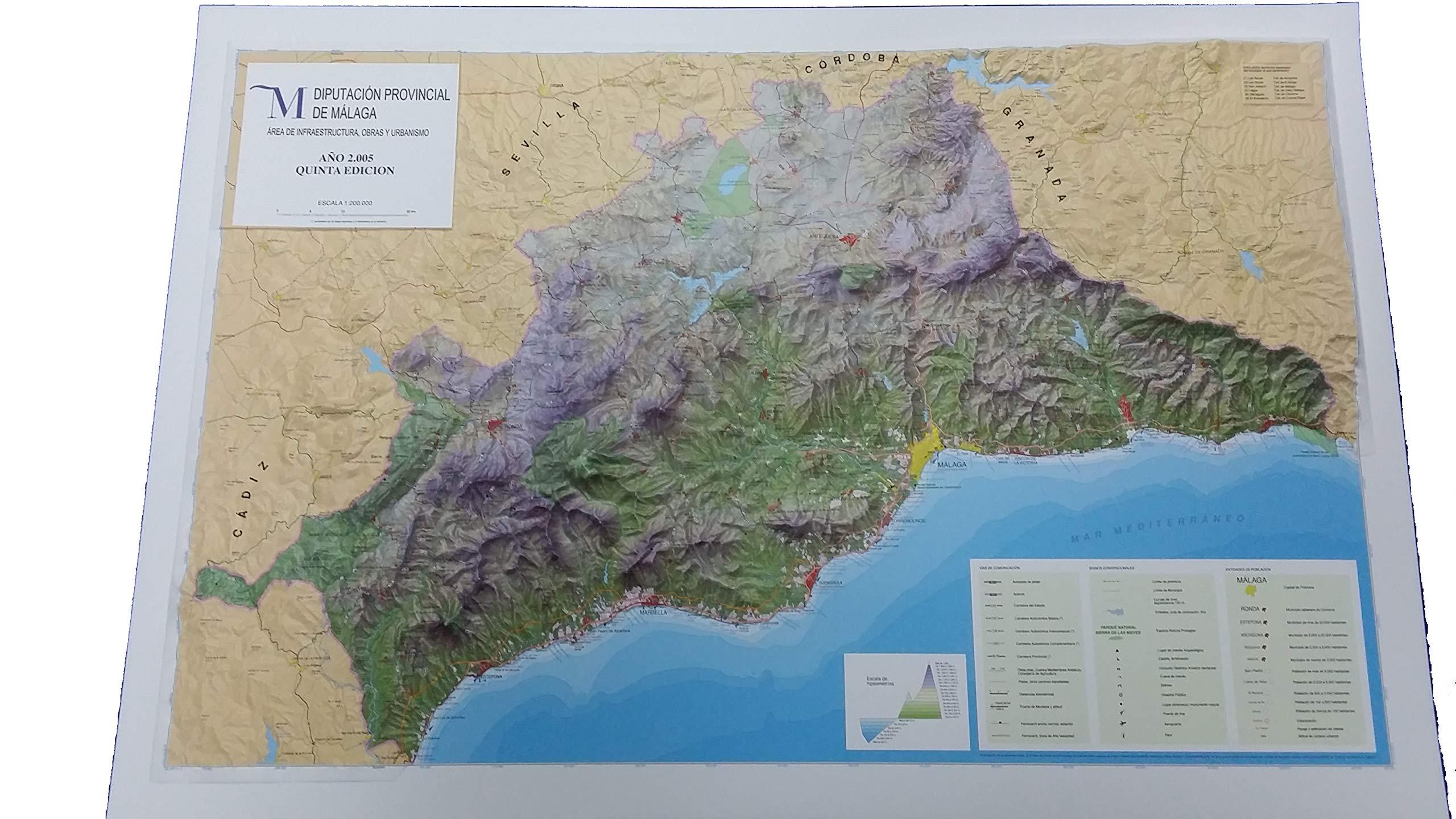 Mapa en relieve de Málaga: Escala 1:200.000: Amazon.es: All 3D Form, S.L.: Libros