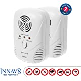 5 in 1 FULLY FEATURED Ultrasonic Pest Repellent By INNAV8 2PACK, Best Indoor Plug In Pest Control SOLUTION, Natural Repellent, Mice, Ants, Roaches, Mosquitoes, Silver Fish, 2 Band Tech. Night Light