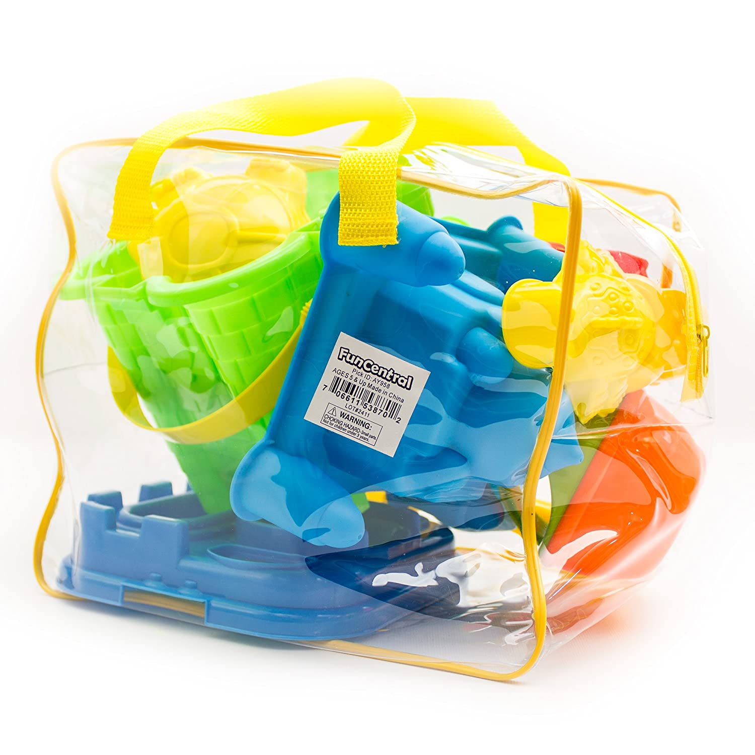 Fun Central AY958 15-Pieces Beach Sand Toys Set in Zippered Bag Castle Bucket