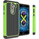 Honor 6X Case, Huawei Mate 9 Lite Case, CoverON [HexaGuard Series] Slim Hybrid Hard Phone Cover Case for Huawei Honor 6X / Mate 9 Lite - Green / Black