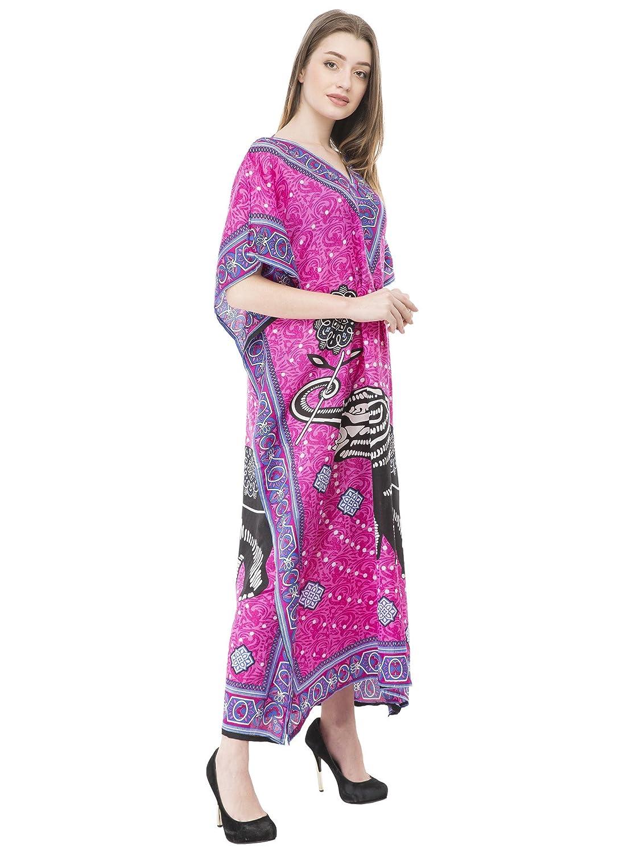 729665eee6c SKAVIJ Kaftan Beachwear Cover Up Long Maxi Dress Caftan Nightgown (Blue)  Gifts for Ladies at Amazon Women s Clothing store